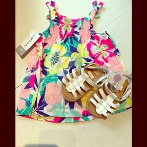 Tropical tank shirt with sandals.